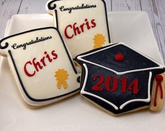 Graduation Cookies, Diplomas or Mortar board Caps - 30 Decorated Sugar Cookie Favors