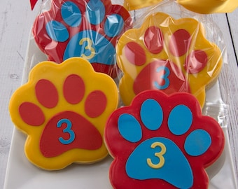 Paw Print Cookies, Puppy Dog Cookies - 36 Decorated Sugar Cookie Favors
