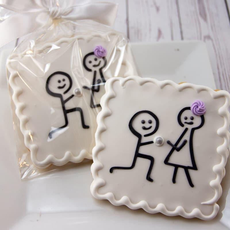 Engagement Cookies Wedding Cookies Stick Figure 12 Etsy