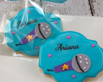 Microphone Music Cookies, Rock Star - 18 Decorated Sugar Cookie Favors