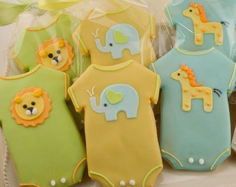 Baby Cookies, Animal Baby Shower Cookies, Elephant, Giraffe, Lion - 30 Decorated Sugar Cookie Favors