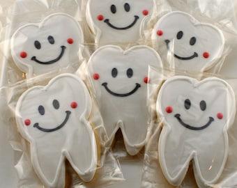 Teeth Cookies, Dental Tooth Medical Cookies - 18 Decorated Sugar Cookie Favors