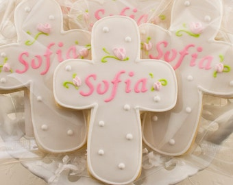 Personalized Rosebud Cross Cookies for Baptism, Communion - 80 Decorated Sugar Cookie Favors