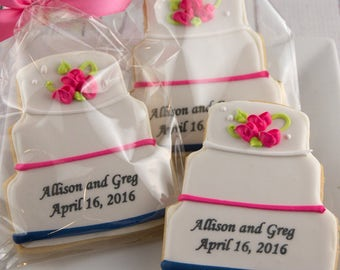 Wedding Cake Cookies, Personalized - 80 Decorated Sugar Cookie Favors