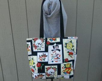 Ed Hardy Skulls and Roses Fabric Tote Shoulder Bag b610b33ba3