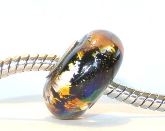 Artisan Lampwork Glass Big Hole Bead fits ALL Euro Charm Bracelets - Fire and Water BHB