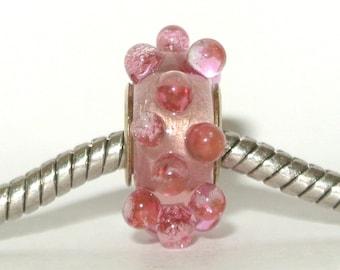 Pink Big Hole Bead Lampwork Glass fits all big hole bead European Charm Bracelets - Pretty In Pink BHB
