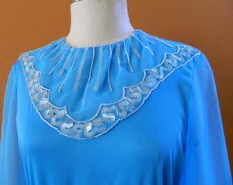 Sky Blue Vintage Beaded Maxi Dress