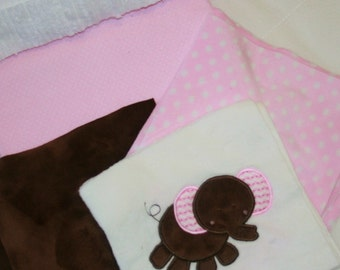 """Appliqued Minky Baby Blanket Kit """"Pretty In Pink Adorable Elephant"""""""