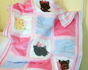 """Appliqued Kitty Minky Baby Quilt ,  """"Here Kitty, Kitty"""""""