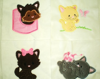 "Appliqued Minky Baby Blanket Quilt Squares ""Here Kitty, Kitty"""