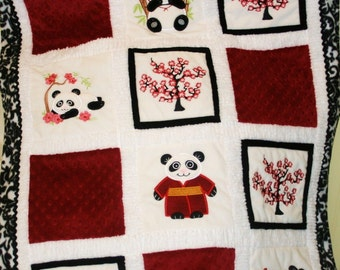 "Appliqued ""Cherry Blossom Pandas"" Cuddly Baby Blanket"