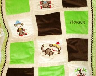 """Personalized Baby Blanket Appliqued, Minky """"Sooo Lovable Sock Monkey in Green"""""""