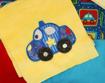 """Appliqued Minky Blanket Kit """" Happy Cars and Trucks"""""""