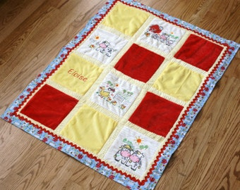 """Personalized Minky Baby Blanket, Appliqued Cuddly """"Adorable Farm"""""""