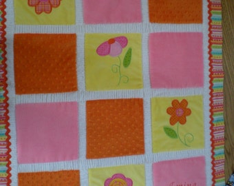 Bright Flowers Cuddly Minky Blanket