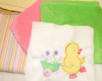 """Appliqued Minky Baby Blanket Kit  """"Here Duckie Duckie"""""""