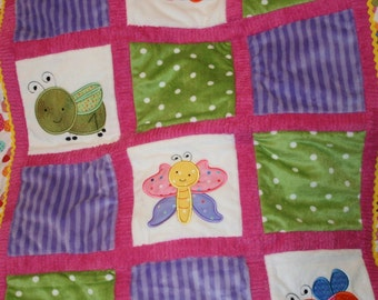 "Appliqued Bugs Minky Baby Blanket ""Roly, Poly Baby Bugs"""