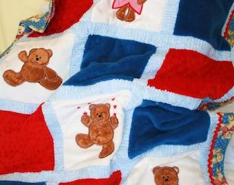 "Personalized Minky Baby Blanket Appliqued ""Fuzzy Teddy Bear """