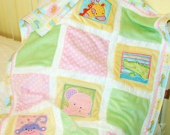 "Jungle Appliqued Minky Blanket ""Too Cute Jungle """