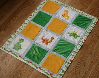 "Appliqued Dinosaur Minky Baby Blanket  ""DinoROAR"""