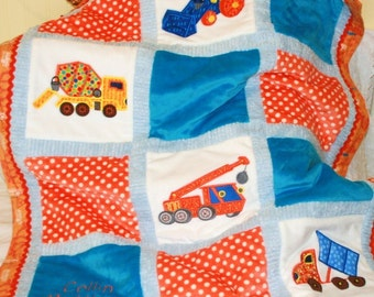 """Baby Truck Personalized Baby Blanket Appliqued """" Construction Trucks"""""""