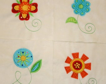 "Appliqued Minky Quilt Squares ""Fabulous and Funky Flowers"""