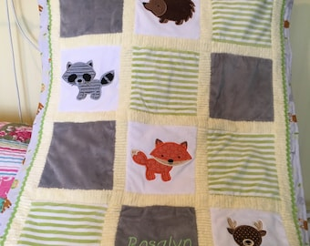 NEW! Woodland Friends Minky Blanket or Kit