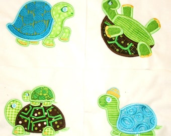 """Appliqued Minky Quilt Squares """"Topsy-Turvy Turtles"""""""
