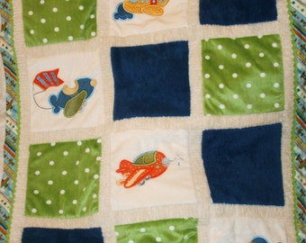 "Airplanes  Minky Baby Blanket , Appliqued  "" Up, Up And Away"""