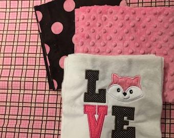 NEW! LIttle Girl Fox Minky Blanket or Kit