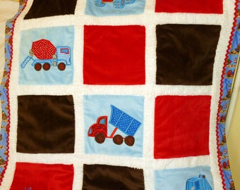 "Construction Trucks Minky Baby Blanket  Appliqued ""BIG Trucks """