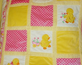 "Duck Appliqued Minky Baby Blanket""Just Ducky"""