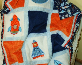"""Space Ships Minky Quilt Appliqued """"Mars and Beyond"""""""