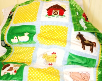 "Farm Appliqued Minky Quilt ""Farmyard Friends"""