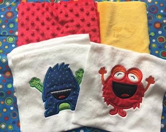 NEW! Little Mister Monster Minky Blanket or Kit