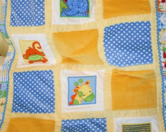 "Jungle Appliqued Minky Baby Blanket  ""Too, Too Cute Jungle""  little boy"