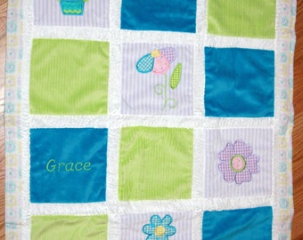 Pretty Flowers Cuddly Minky Blanket