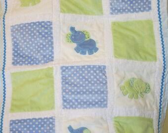 """Baby Blanket Personalized Minky, Appliqued, """"Little Elephants"""""""