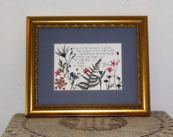Pressed flowers with Bible verse for EASTER  8x10 frameFEB SALE15%
