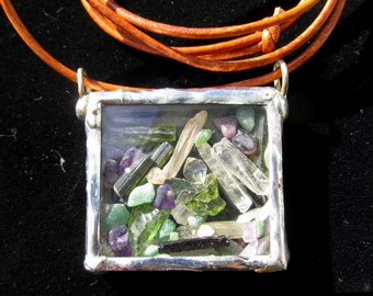 Brown Glass Caged Vial Functional Sterling keeper Locket with garnet  Gemstone