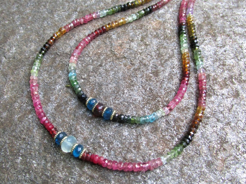Faceted Watermelon Tourmaline Necklace with Blue Apatite Center Bead HANDMADE Natural Gemstone Jewelry Beaded Necklace