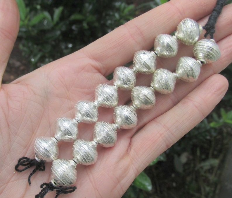 Large Silver Beads 8 Strand Jewelry Supply Tribal Style Boho Beads