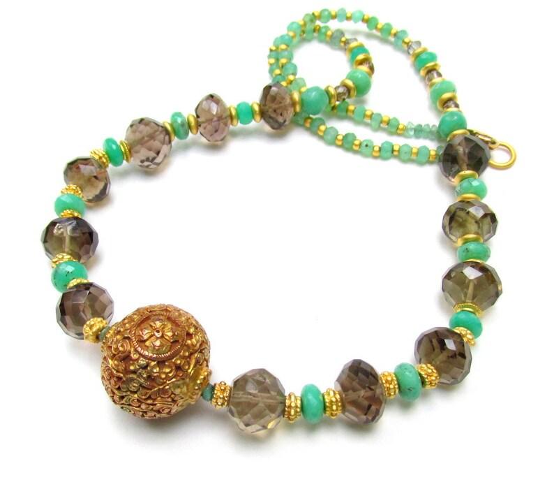 Artisan Handmade Jewelry Chrysoprase /& Smokey Quartz with Carved Tibetan Gold Plated Focal Bead Natural Gemstone Beads