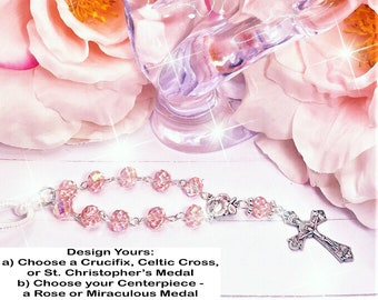 Light Pink Aurora Clear Beads, Car, Mirror, Rearview, Rear View, Charm, Hanger, Accessory, Cross, MIni Rosary, Rose, gift, 1 Decade