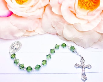 Swarovski Green Clear Crystals Rosary Chaplet 1 One Decade Catholic Religious Beads Ladies Women Miraculous Medal Crucifix Cross