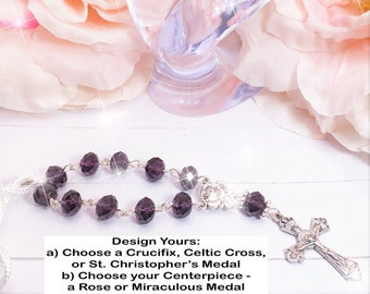 Dark Purple Beads, Car, Mirror, Rearview, Rear View, Charm, Hanger, Accessory, Cross, MIni Rosary, Rose, gift, 1 Decade