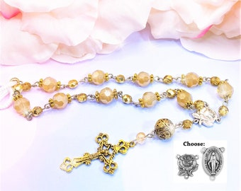 Golden Brass Silver Beads, Car, Mirror, Rearview, Rear View, Charm, Hanger, Accessory, Cross, MIni Rosary, Rose, gift, 1 Decade