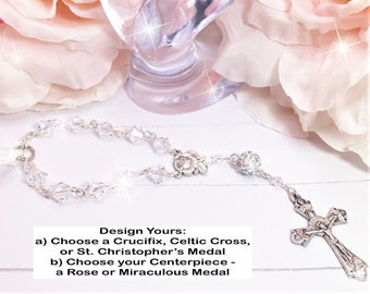 Swarovski Clear Crystal Beads, Car, Mirror, Rearview, Rear View, Charm, Hanger, Accessory, Cross, MIni Rosary, Rose, gift, 1 Decade