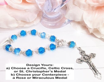 Blue Silver Beads, Car, Mirror, Rearview, Rear View, Charm, Hanger, Accessory, Cross, MIni Rosary, Rose, gift, 1 Decade